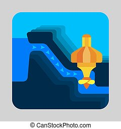 Water energy concept background, cartoon style - Water...