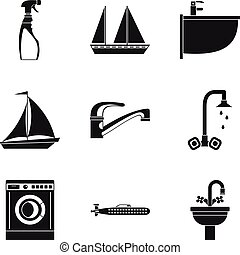 Water event icons set, simple style