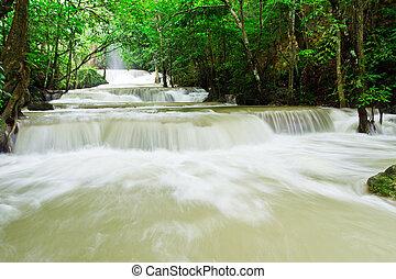 water fall , hua mae kamin level 1 kanchanaburi thailand