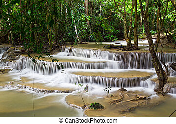 water fall , hua mae kamin level 6 kanchanaburi thailand