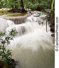 water fall , hua mae kamin level 6 kanchanaburi thailand
