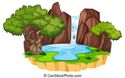 Water fall with forest elements on white background