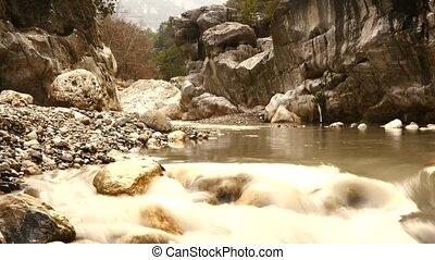 Water falling in fast motion in Turkey Antalya province