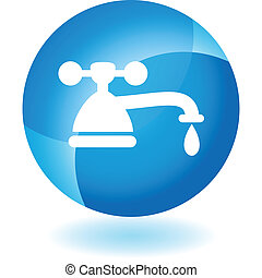 Water Faucet Drip - Water faucet drip web button isolated on...