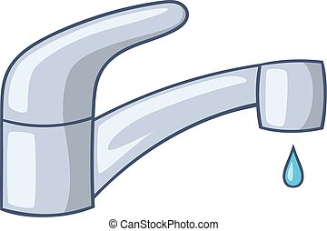 Water faucet icon, cartoon style