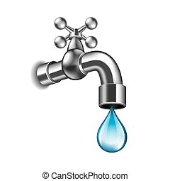 Water faucet isolated on white vector - Water faucet...