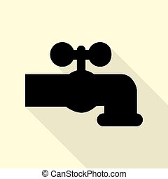 Water faucet sign illustration. Black icon with flat style...