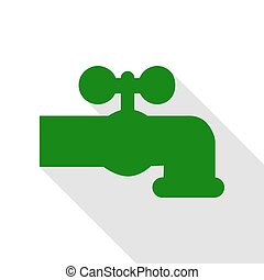 Water faucet sign illustration. Green icon with flat style...
