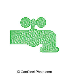 Water faucet sign illustration. Green scribble Icon with ...