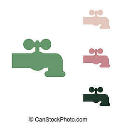 Water faucet sign illustration. Russian green icon with ...