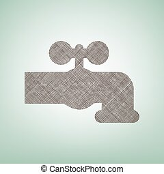 Water faucet sign illustration. Vector. Brown flax icon on...
