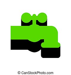 Water faucet sign illustration. Vector. Green 3d icon with...
