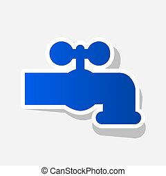 Water faucet sign illustration. Vector. New year bluish icon...