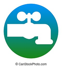 Water faucet sign illustration. Vector. White icon in bluish...
