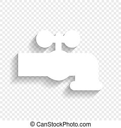 Water faucet sign illustration. Vector. White icon with soft...