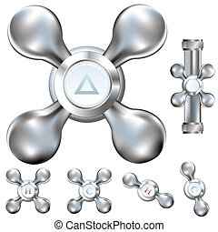 Water faucet vector illustrations - Water faucet handles ...
