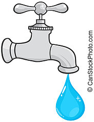 Water Faucet With Water Drop - Illustration Of Water Faucet...