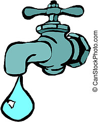 water faucet with water drop - vector illustration of the...