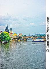 Water Ferry at Charles Bridge in Prague