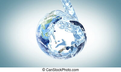 water fills the Earth, 3d animation