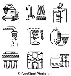 Water filters flat line vector icons