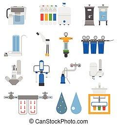 Water filters vector set.