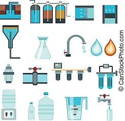 Water Filtration Flat Icons