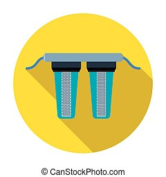 Water filtration icon in flat style isolated on white background. Water filtration system symbol stock vector illustration.