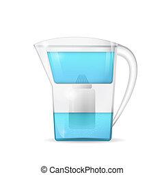 Water filtration jug, household equipment, 3d raster