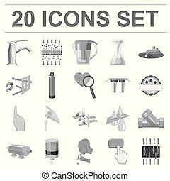 Water filtration system monochrome icons in set collection for design. Cleaning equipment vector symbol stock web illustration.