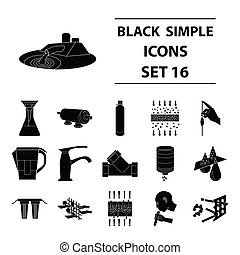 Water filtration system set icons in black style. Big collection of water filtration system vector symbol stock illustration