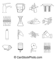 Water filtration system set icons in outline style. Big collection of water filtration system vector symbol stock illustration