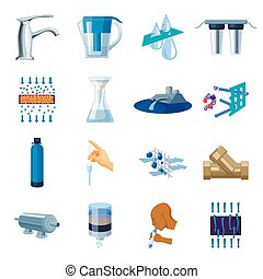 Water filtration system set icons in cartoon style. Big collection of water filtration system vector symbol stock illustration