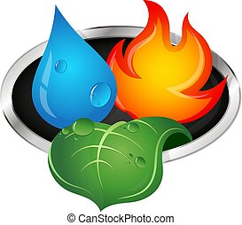Water, fire and green leaf