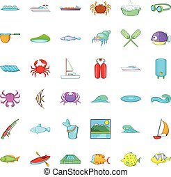 Water fish icons set, cartoon style