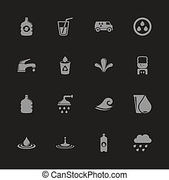 Water - Flat Vector Icons