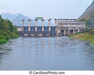 Tha Tung Na Dam - Water flow from Tha Tung Na Dam,...