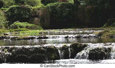 water flow to waterfall