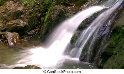 water flow waterfall side