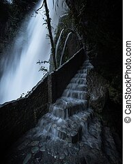 Water flowing down stairs at Pailon del diablo Devils Cauldron highest waterfall flowing down Rio Pastaza river cascades route Banos Tungurahua Amazonia Ecuador South America