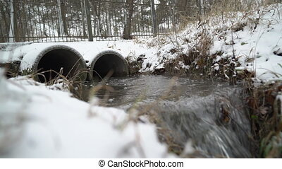 Water flowing out of two concrete drain pipes in winter