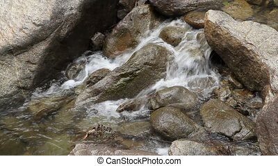Water flowing over a rock