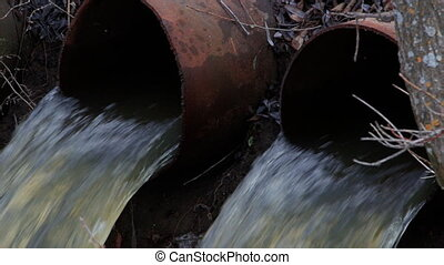 Water flows from large pipes 4