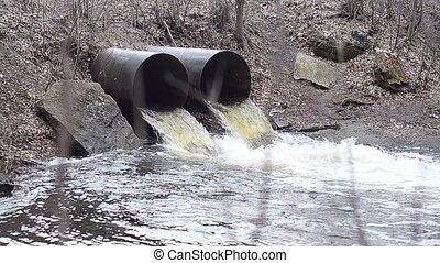 Water flows from two pipes
