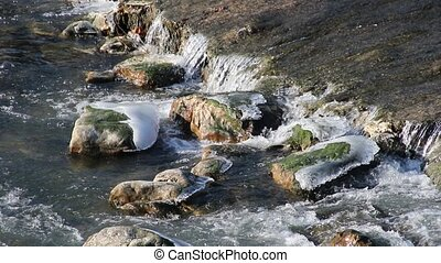 Water flows through the ice in winter river
