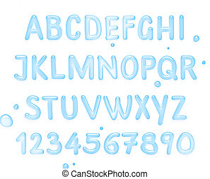 Water font. Latin alphabet made of water.