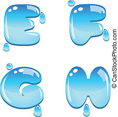 Water Font Type E to H - A set of water bead font type,...