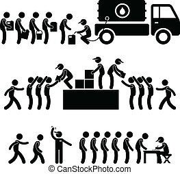 Water Food Stock Supply Relief - A set of people pictogram...