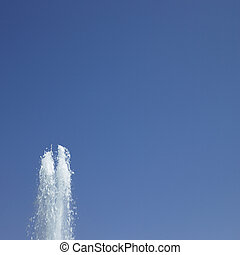 Water Fountain in blue sky