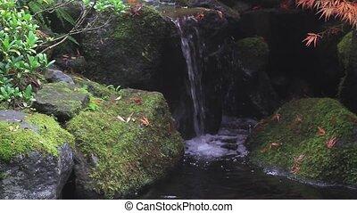 Water Fountain in Japanese Garden Portland Oregon in...